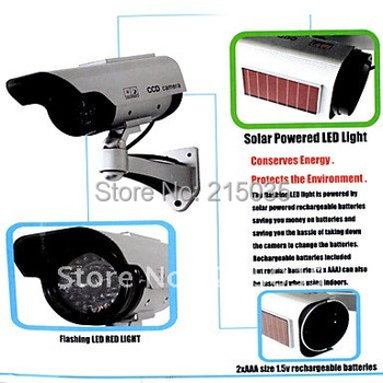 Solar and Battery Dual Power Simulated Indoor/Outdoor Security Camera with Blinking Red LED