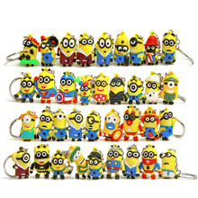 50pcs 3D MInions figurines toy car keychain key ring set 2016 New Plastic Despicable me minions birthday party supply decoration(China (Mainland))