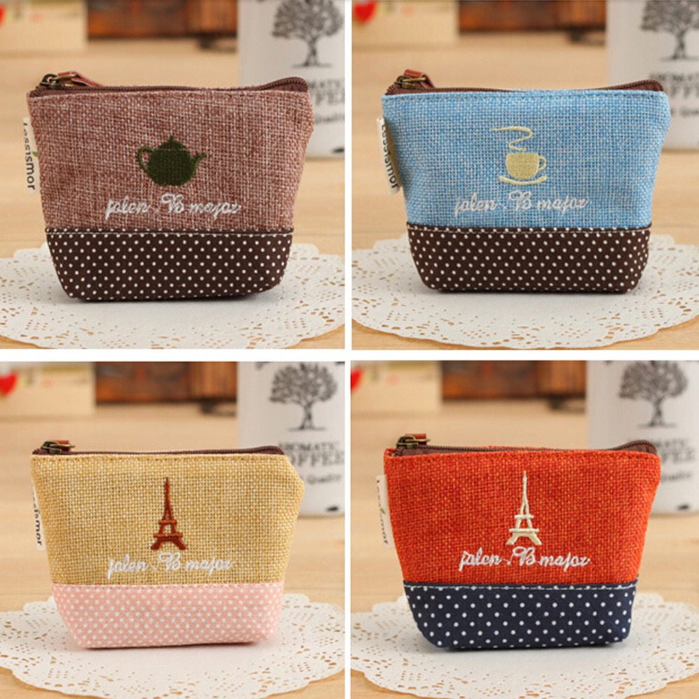 2016 Womens Girls Retro Canvas Coin Purse Key Wallet Storage Bag With Different Mental Decorations Fashion Wallets(China (Mainland))