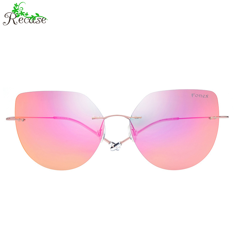 FONEX New Rimless Cat Eye Sunglasses Women Ultralight Titanium Frame Polaroid Lens UV400 Outdoor Sun Glasses SG-22(China (Mainland))