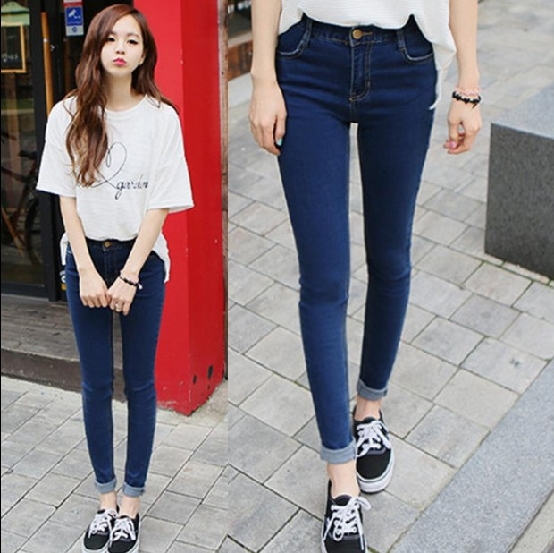 Hot sales student han edition of tall waist elastic thin jeans Pencil feet Cultivate one's morality narrow fashion casual jeans(China (Mainland))