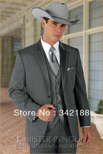 DARK GRAY jacket pants vest tie/Custom cheap italian MEN'S for Suit/MAN Suit/WESTERN STYLE WEDDING GROOM TUXEDOS GROOMSMEN DRESS(China (Mainland))