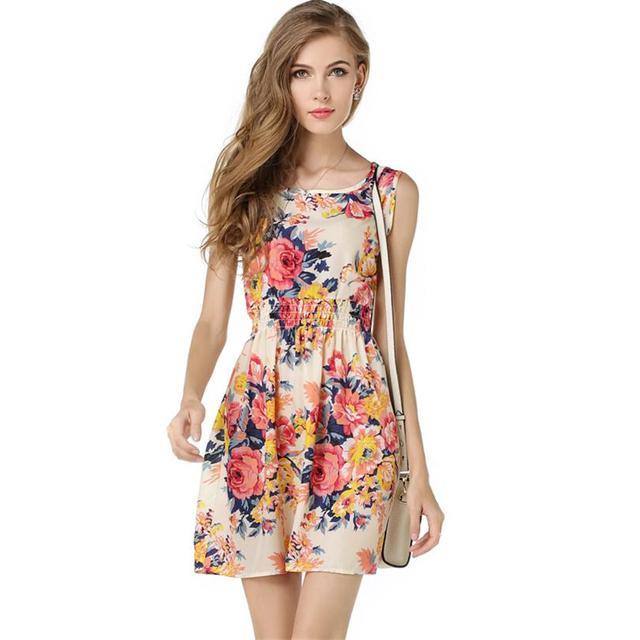 2016 Весна лето осень платья новых Женщин повседневная Чешские цветочные цветочные ...