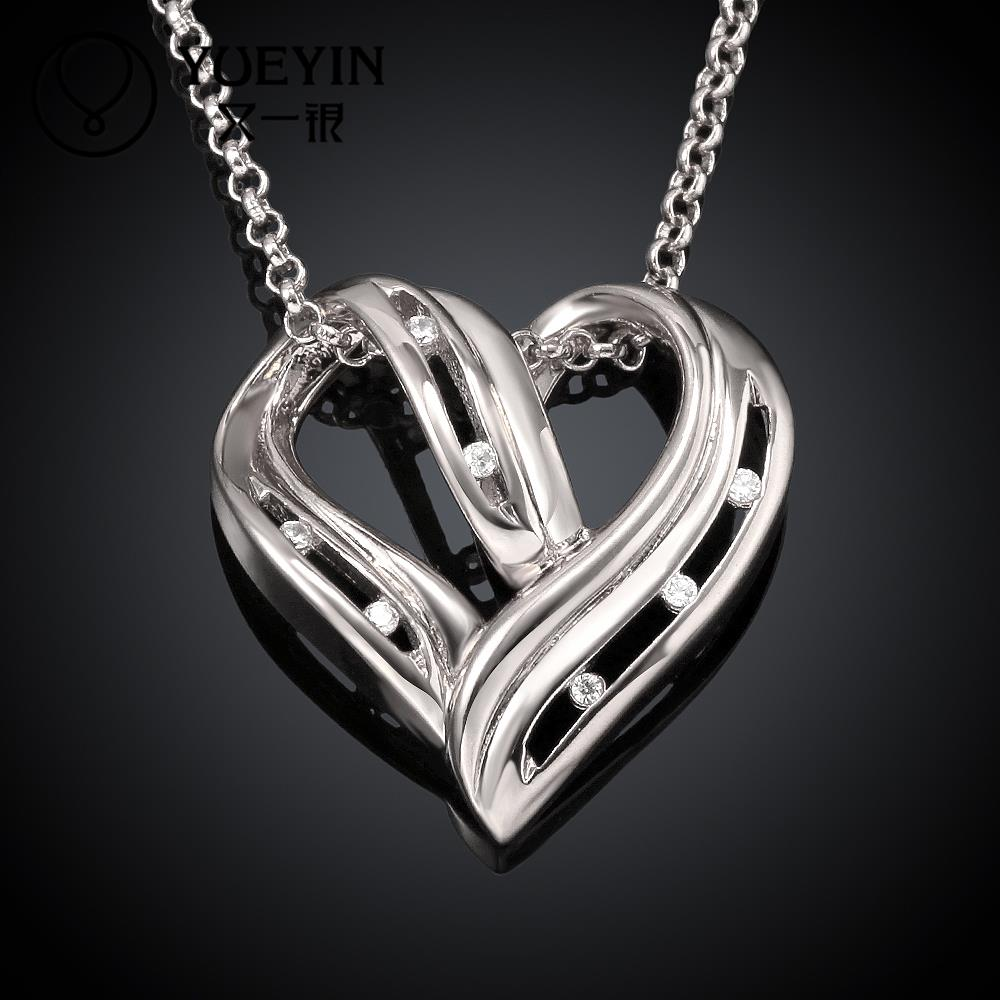 Factory Price Long Pendant Necklace Women, Floating Crystal Necklace Beaded Vintage Heart Jewelry Accessories Party Gift N048-C(China (Mainland))