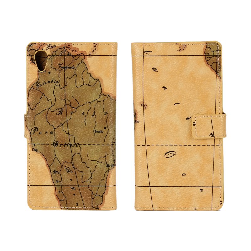 Cover Case For Sony Xperia M4 Aqua Flip Map Printed Leather Stand Mobile Phone Accessory Bag Cover Shell For Sony Xperia M4 Aqua(China (Mainland))