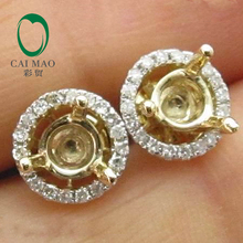 Popular 4.5x4.5mm Round Cut 14k Yellow Gold & 0.22ct Diamond Semi Mount Earring Settings(China (Mainland))