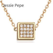 Jessie Pepe Summer Special Pendant Necklace Cube Trendy Style Rhinestone Best Quality Welcome Wholesale in 3 Colours #JP110191(China (Mainland))