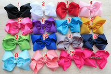"15 colors 15pcs/lot 8"" Grosgrain Ribbon Hair Bows Clips,kid  Boutique HairBows french barrette Clip,Girl Hair Accessories C(China (Mainland))"