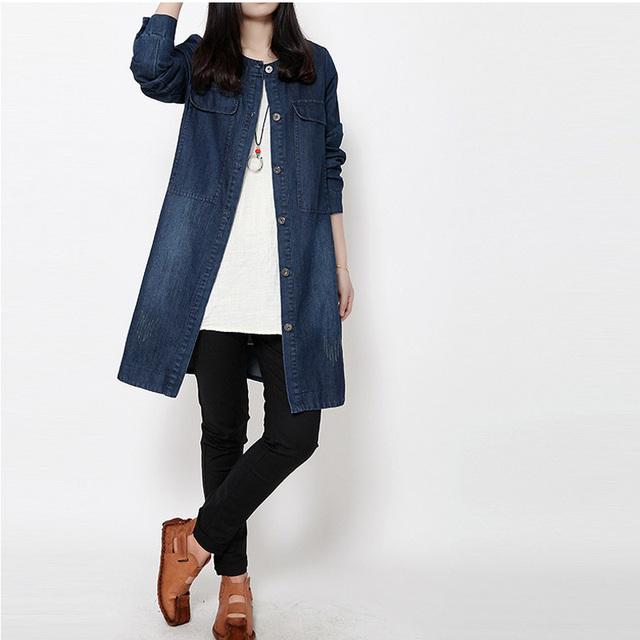 Мода женщина старинные тонкие длинные джинсовые тренчи джинсы однобортный с карманными ...