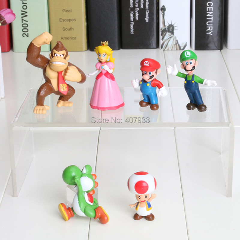 Luigi donkey kong 1Set 1Set=6pcs High Quality PVC Super Mario Bros Action Figures youshi mario Gift OPP retail(China (Mainland))