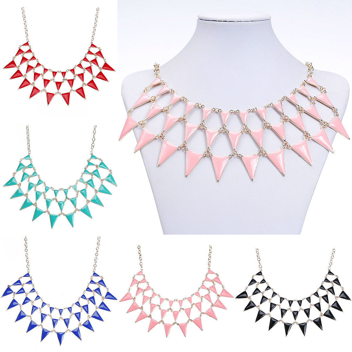 5 Colors Option 1PC New Fashion Multilayer Craft Glaze Triangle Pendent Bib Choker Statement Necklace Charm Gift(China (Mainland))