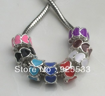 Free shipping 20pcs/lot 10mm metal big hole colorful love heart loose beads fit European DIY bracelet jewelry charms