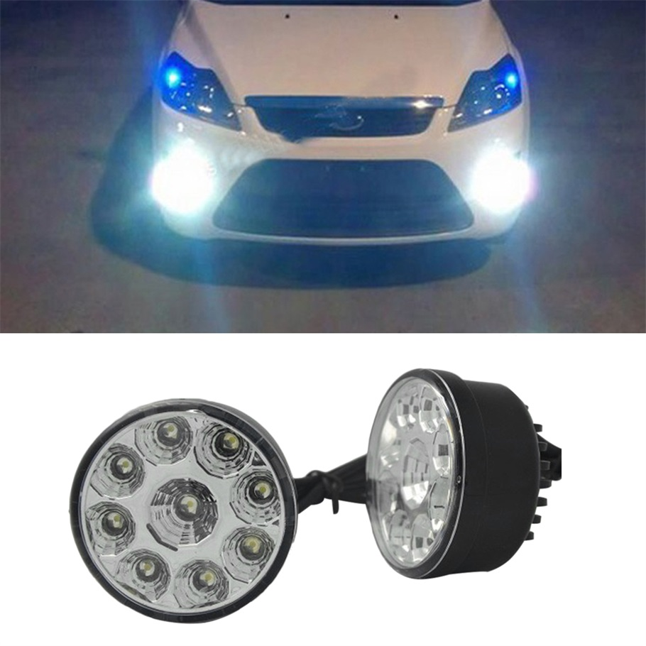 1 Pair 2PCS Bright White 9W LED Round Day Fog Light Head Lamp Car Auto DRL Driving Daytime Running DRL Car Fog Lamp Headlight(China (Mainland))