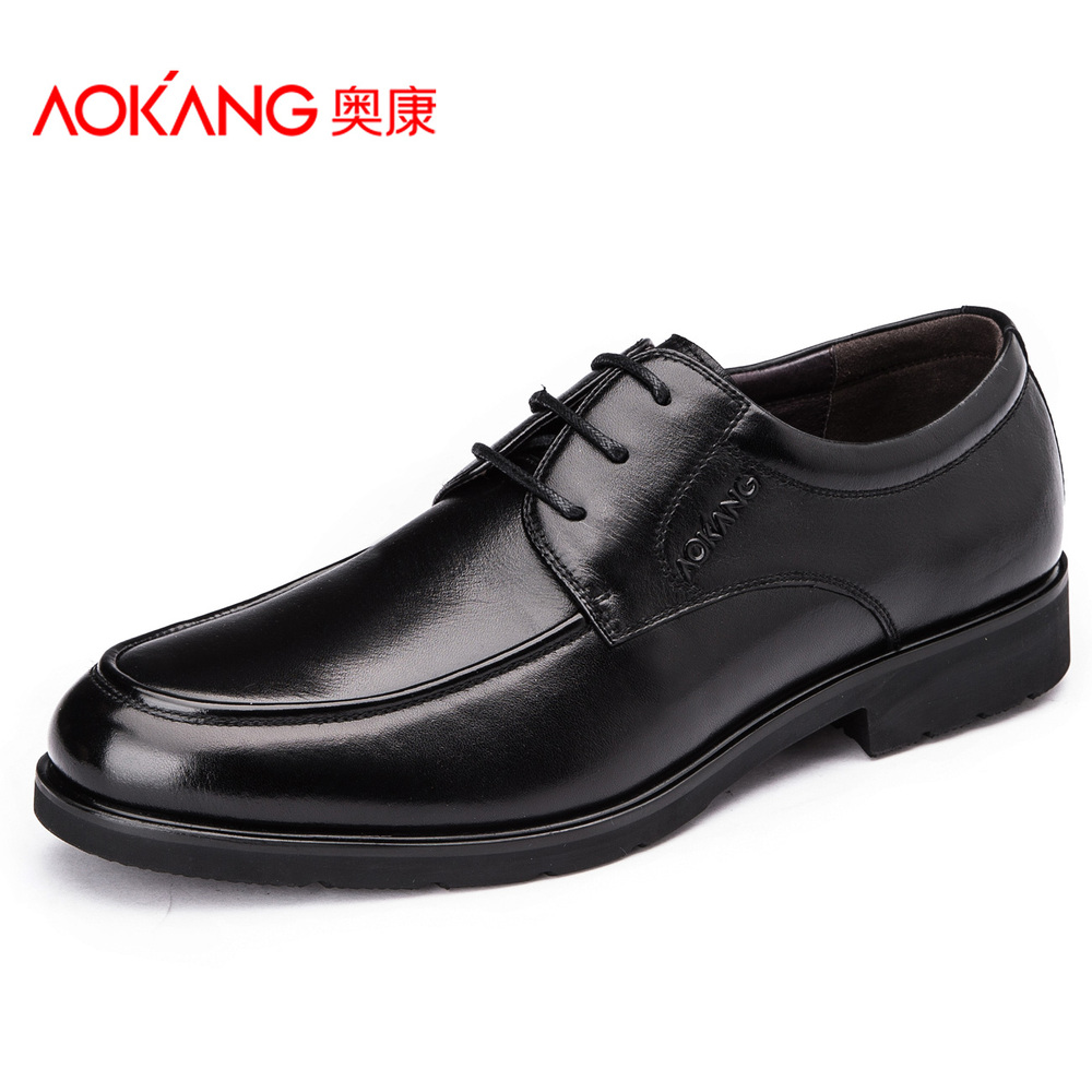 Фотография Aokang Leather Dress Shoes For Men 2015 New Arrival British Style Breathable Men Top Genuine Leather Men