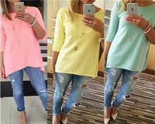 Hot Sale Simple Fashion Women's Loose Pullover Shirt Long Sleeve Yellow/Pink/Green 4 Sizes Top Shirt Blouse(China (Mainland))