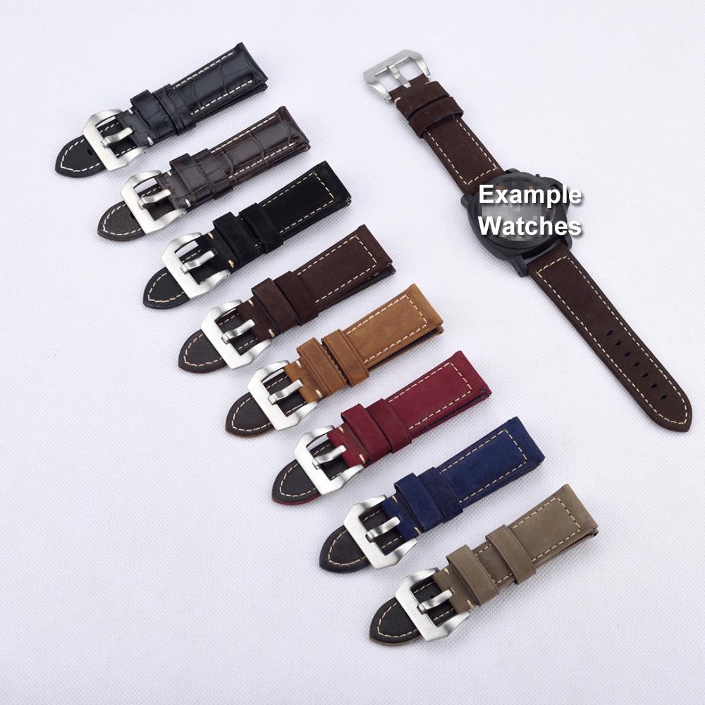 Гаджет  Handmade Fashion Crocodile&Matte Genuine Leather Watch Band For P Watch 22mm 24mm 26mm  Watch Strap Black Brown Watchbands None Часы