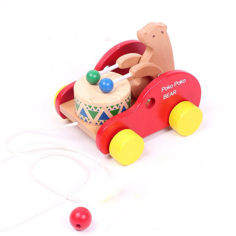 Free shipping,hot sales,Wooden bear drum car beech wooden child pull toys,child early education toys HT177(China (Mainland))
