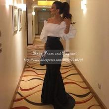 Long Arabic Style Evening Dresses 2016 Sexy Boat Neck Saudi Arabia Dubai Mermaid White and Black Women Formal Evening Gowns(China (Mainland))