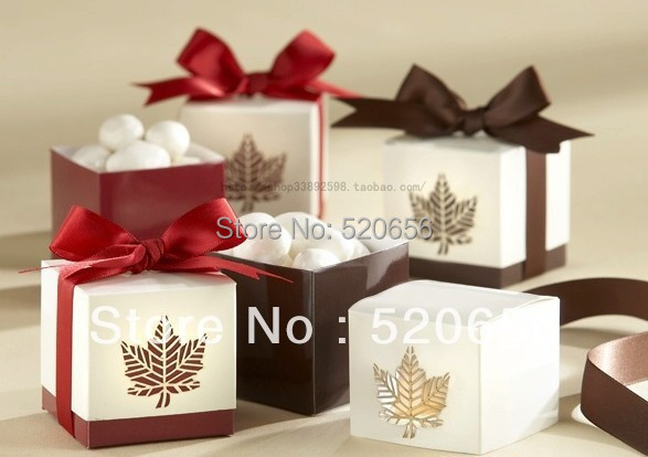maple leaf wedding paper candy boxes valentine birthday chocolate gift box with ribbon 100pcs/lot(China (Mainland))
