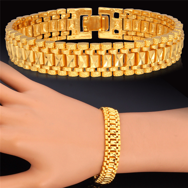 Gold Plated Bracelet For Women New Hot Fashion Jewelry Platinum Plated Free Shipping MGC Nice Gift 18K Gold Bracelet Men H450(China (Mainland))