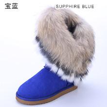 INOE mode fourrure de renard femme genou haute vache daim cuir bottes d'hiver pour Lidies bottes de neige lapin fourrure glands garder au chaud bottes(China)