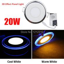 20W Round Acrylic LED Panel Light LED Recessed Ceiling Panel Down Light Lamp Warm White Cool White AC85-265V Free Shipping(China (Mainland))
