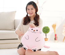 lovely plush fat cat toy pink cute cat doll cute lazy cat doll gift about 42cm