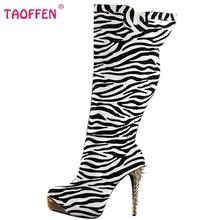 Mujer de Tacón Alto Sobre Rodilla Patea Los Zapatos de Leopardo de Las Mujeres de Moda Tacones de Arranque largo Nieve Botas de Invierno Calzado Zapatos Tamaño 35-46 B015(China (Mainland))