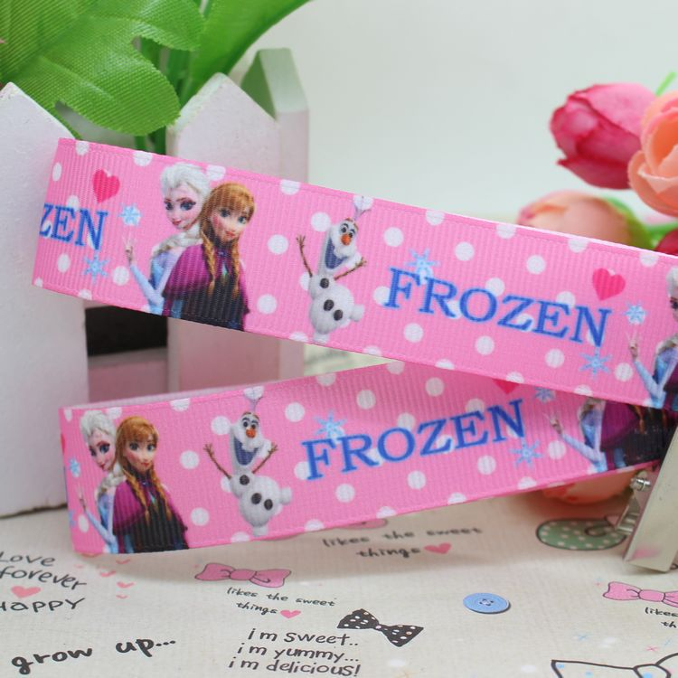 7/8'' Pink anna elsa dots printed grosgrain ribbon hairbow party decoration OEM 22mm H2062 - Global Ribbon&Accessories Studio store
