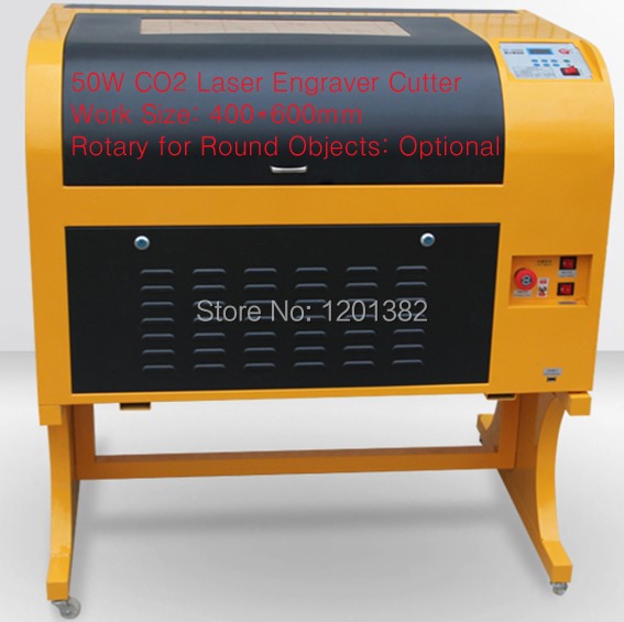 Free ship !! Latest TS6040 CO2 Laser Engraving machine,50W,220V/110V,laser CNC router with rotary device for round materials(China (Mainland))