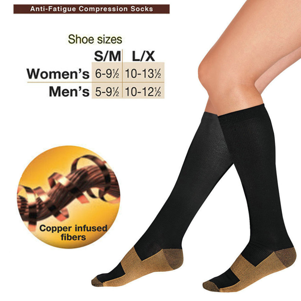 1pair Hot Miracle Copper Anti Fatigue Compression Socks Tired Achy Unisex Women Men Anti Fatigue Magic