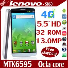 Original Lenovo S860t Mobile Phone 5.5″ 1920*1080 IPS Android 4.4 MTK6595 Octa Core Smartphone 4G RAM 4G FDD LTE GPS Cell Phones