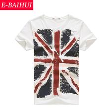 E-baihui марка мужчины майка хлопок союз-джек одежды мужской тонкий подходит мужчина Enlish флаги футболки скейтборд добычу одежда y001