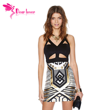 vestidos femininos curtos 2015 roupas femininas de festa Stylish Cutout Bodycon Club Party Dress with Metallic Print  LC21810(China (Mainland))