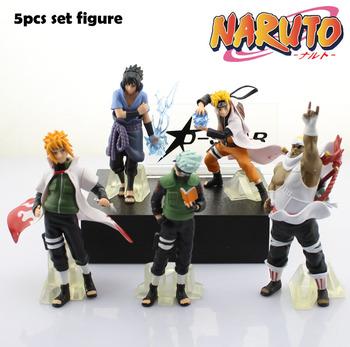 Free Shipping 5pcs Naruto Anime Sasuke Kakashi Minato Bee the 32th PVC Action Figures Collection Model Toy Gift (5pcs per Set)