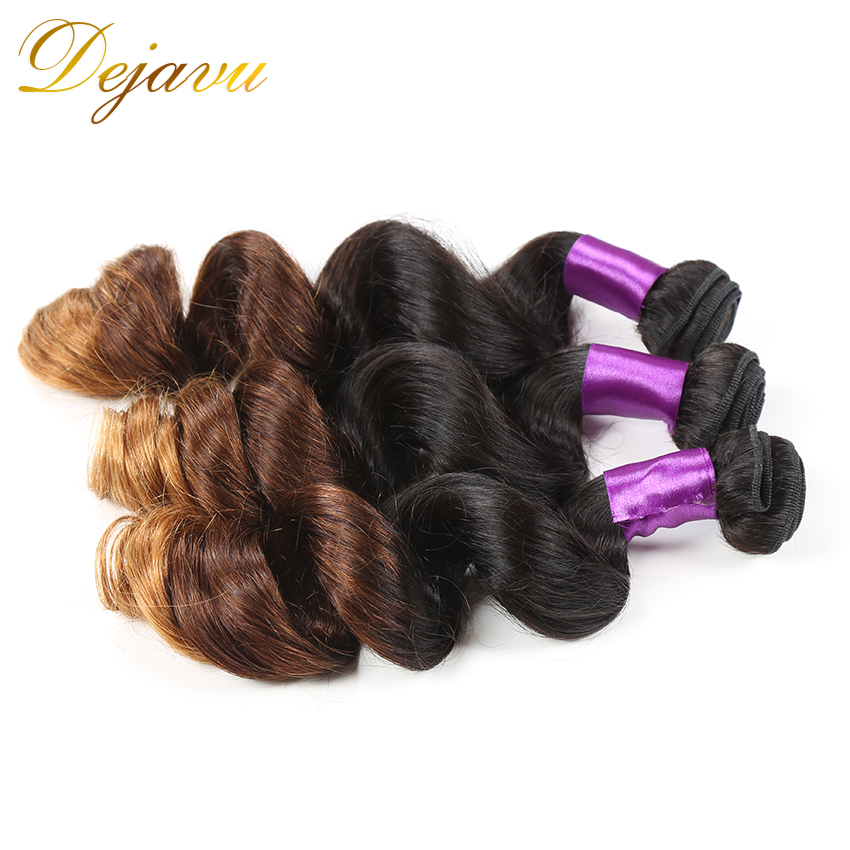 Ombre Brazilian Hair T1B/4/30, Unprocessed Virgin Brazilian Loose Wave Ombre Hair Extensions Three Tone Human Hair Weave<br><br>Aliexpress