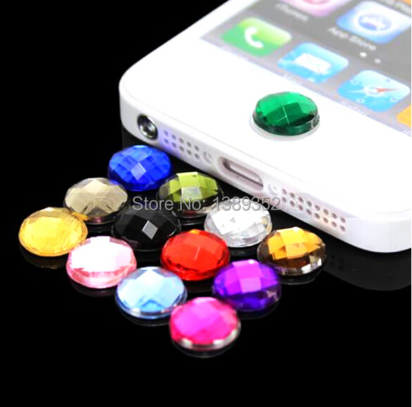 10pcs/lot Diamond Bling Home Button Stickers for Apple iPod iPhone 3GS 4G 4S 5 5G DIY cell phone decoration(China (Mainland))
