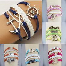 2014 New!! Cheap Price Fashion Jewelry Infinity Anchor Rudder leather Bracelet Charm Leather For Women Wholesale XY-B263