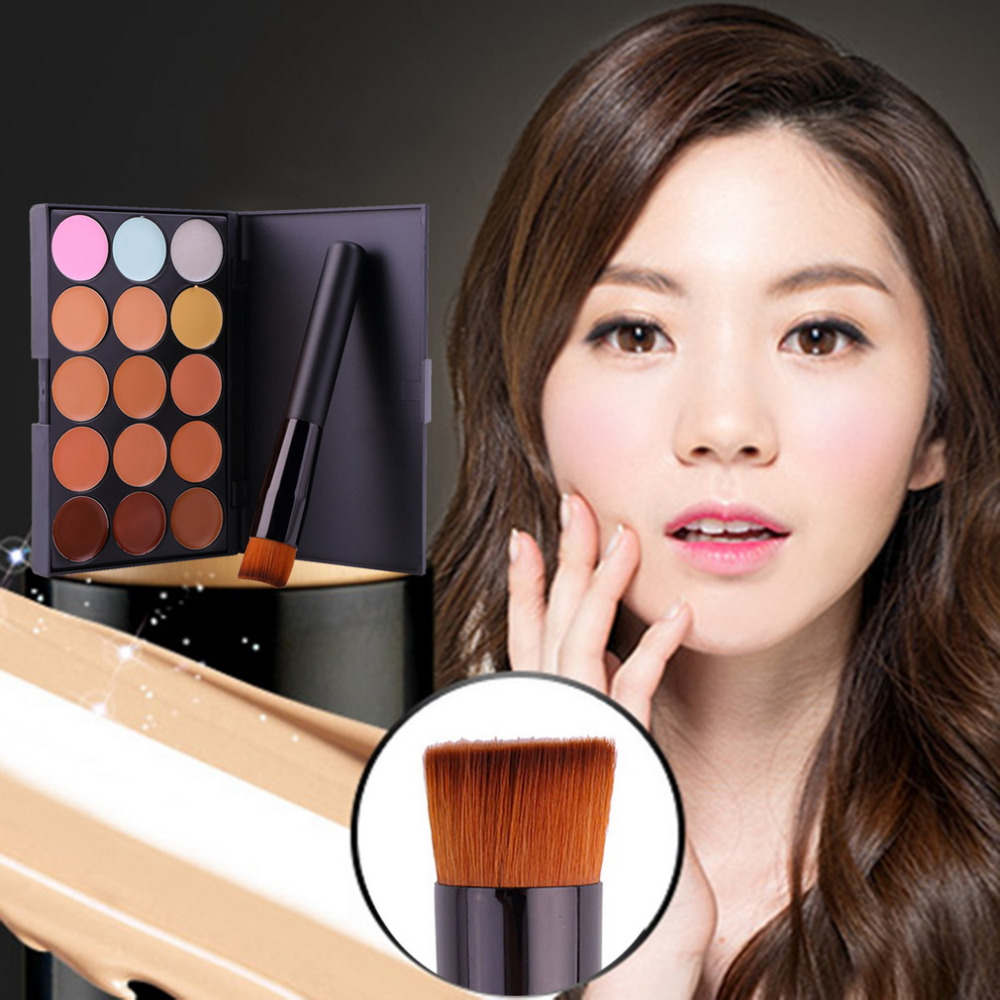 New Hot Selling 15 Colors Contour Face Cream Makeup Party Concealer Palette foundation brush