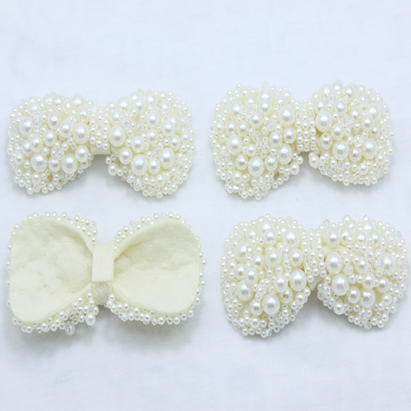baby gril DIY pearl bow handmade big tie wedding Bridal hair/shoes/dress accessories 150pcs/lot free shipping(China (Mainland))