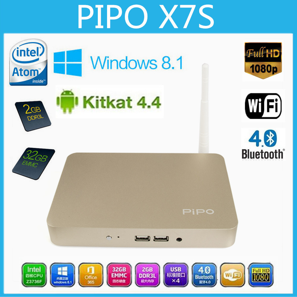 PIPO X7S Smart TV BOX Windows 8.1& Android 4.4 Dual OS Quad Core Mini Computer TV Box Intel Z3736F 2G RAM 32G ROM Media Player(China (Mainland))