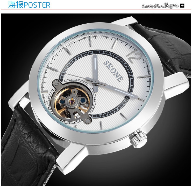 Original Brand Men Skeleton Mechanical Watches Self Wind Real Leather Dress Wristwatch Fashion Business Statement Relojes NW4533<br><br>Aliexpress