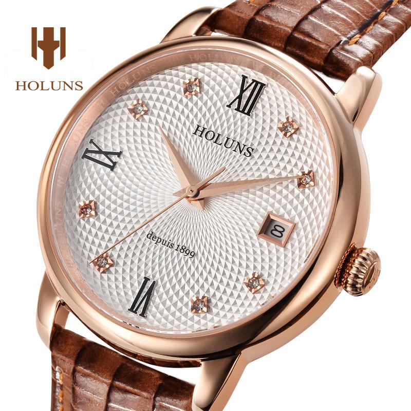 Luxury HOLUNS watch men sapphire glass leather strap waterproof  date stainless steel Quartz watch<br><br>Aliexpress
