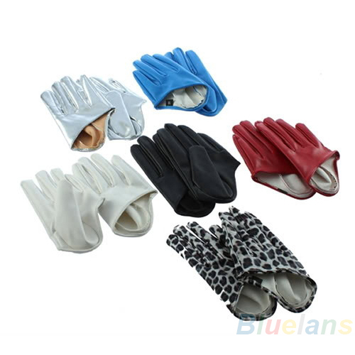 Sexy and The City Faux Leather Women's Five Finger Half Palm Gloves 5 Colors Leopard(China (Mainland))