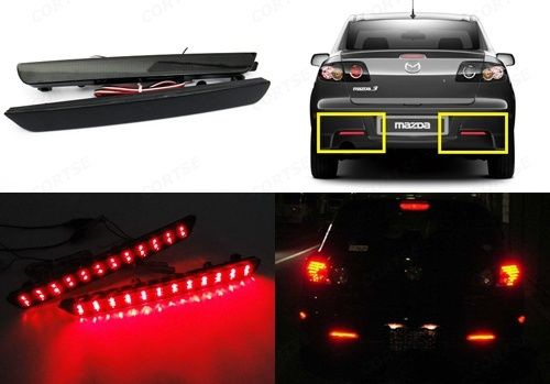 2X Black Smoked Lens Bumper Reflector LED Tail Brake Light 04-09 Mazda3 Mazda 3 Axela Mazdaspeed3 Mazdaspeed