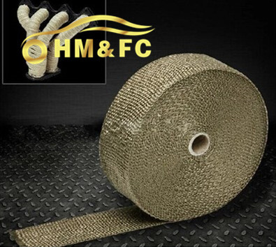 "2""x 50' Premium motorcycle/automobile Exhaust Heat Wrap Manifold Wrap Titanium Lava Fiber Thermal Heat Wrap + 8 pcs Ties(China (Mainland))"