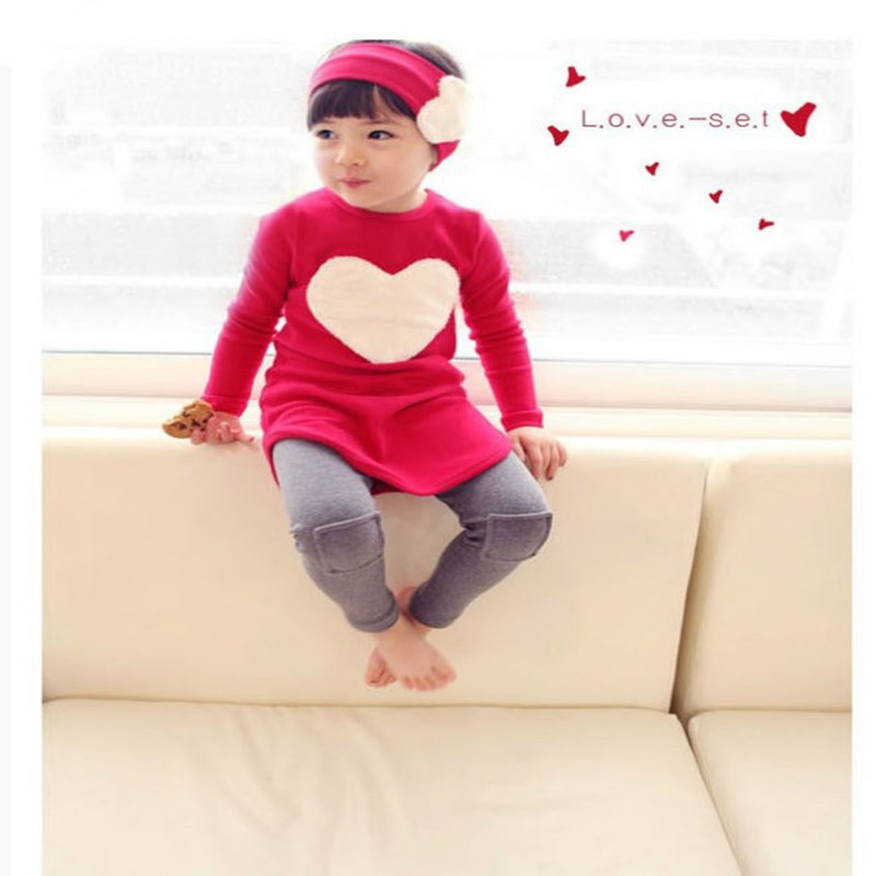 Toddler Girls Clothing Sets 3pcs 1pc Hair Band+1pc Shirts+1pc Pants Children's Clothing Set Girls Clothes Suits 2 Colors(China (Mainland))