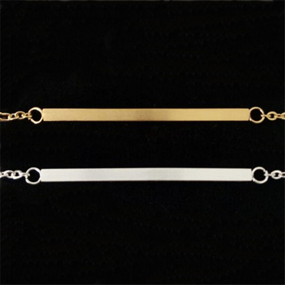1 B013 18K Gold Plated Simple Bar Beacelet & Bangle Stainless Steel Bijoux Silver Chain Bracelets Women Men Jewelry 2016 - Show store