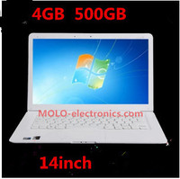 Cheap 14inch laptop computer, Intel J1800 dual core notebook PC 4GB DDR3 RAM 500GB HDD Free shipping