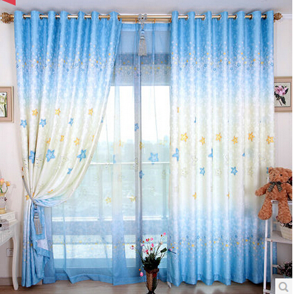 Promotion! High-grade modern ready made Custom children star curtain for bedroom curtain(China (Mainland))